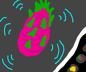 pink dragonfruit being condecending to an app