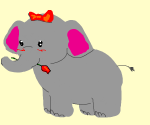 elephant in love with bowtie and rose <3