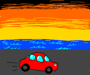 Red car driving