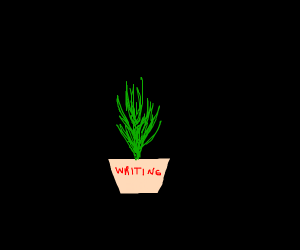 Plant with writing on it