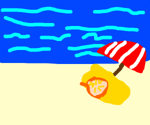 pie on a beach