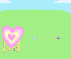 person pleasingly shoots a pink heart target