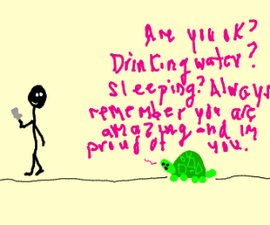 Wholesome turtle checks up on you