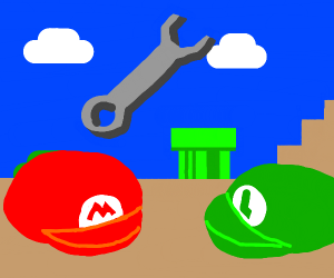 mario and luigi hats and a wrench