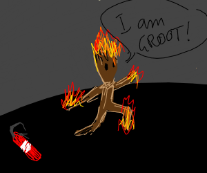 Groot on fire