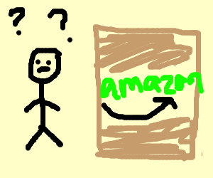 Confused man looking at HUGE Amazon package