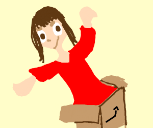 girl emerges from box