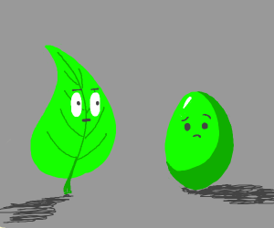 leaf looks at a green egg