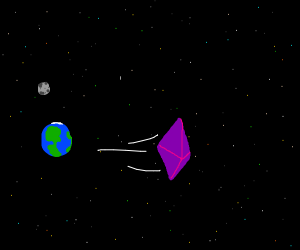 Purple crystal flies away from earth