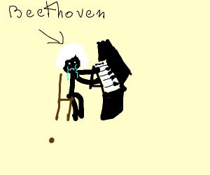 BEETHOVEN creams tears, playing sweet piano