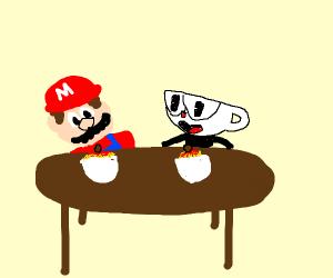 Mario and cuphead eating spaghetti