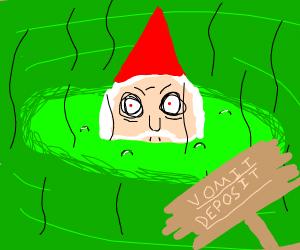 A gnome hides in vomit