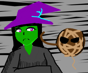 witch being attacked by brown yarn