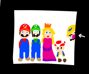 Wario struggles to fit in picture