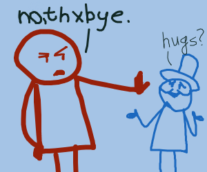 Friendly tophat guy is rebuffed by rude guy