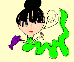 Girl with snake body offers a fish
