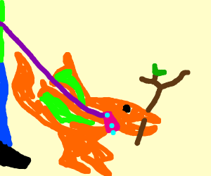 Pet pterodactyl with legs and a stick
