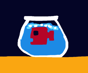 Pixelated fish in a fish bowl