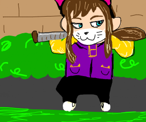 Hat kid wearing cat gangster outfit