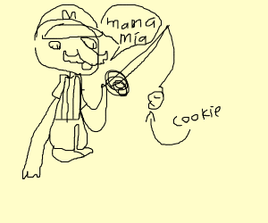 Mario fishing with cookie as bait