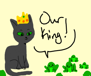 Cat is king of frogs