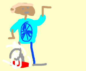 SoccerBall man with smoking golf club for leg