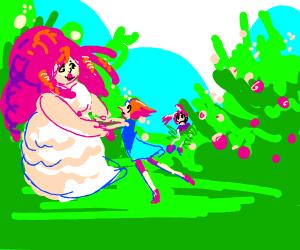 Rose & Quartz and Pearl standing, spinel sad