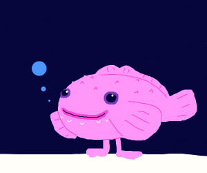 pink blobfish but hes happy and has feet