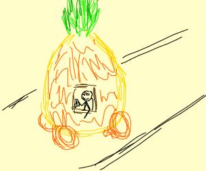 stick figure in a pineapple car