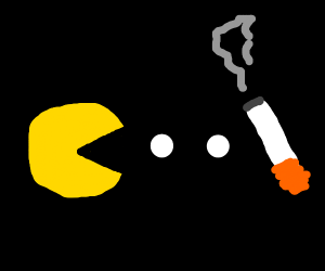 Pac-man. But a cigarette instead of a Cherry