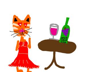 Anthromorphic Cat Admires A Glass Of Wine