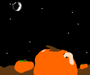 Worm coming out of pumpkin spoopy
