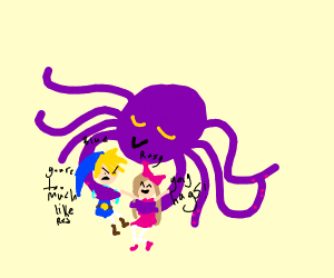 blue and rosy getting hugged by an octupus
