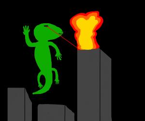 Green lizard destroys city