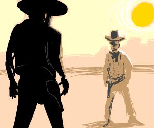 cowboy standoff in the wild west
