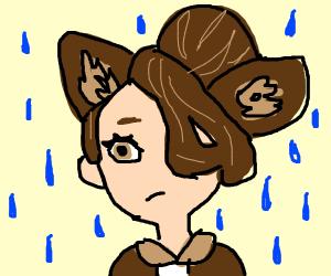 Poor neko girl is caught in the rain :(