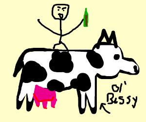 Riding a cow/horse