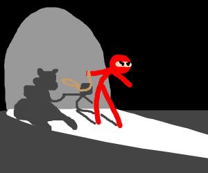 A ninja and his invisible pet llama