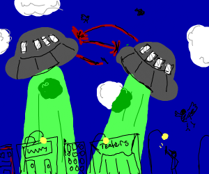 UFOs zapping each other