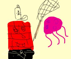 brick wall square pants catching jellyfish