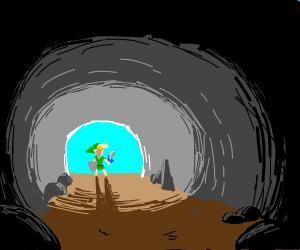 Link enters cave