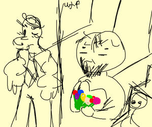 Popeye getting maried with an old bearded man