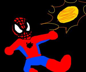 Spiderman fights the sun