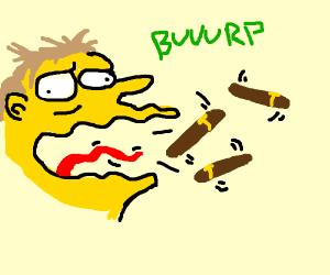 guy burps cigars