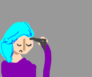 Woman with aqua blue hair about to die
