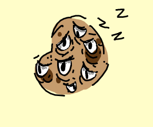 An exhausted potato with many eyes