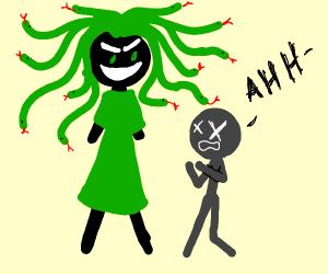 Medusa sneaks up on a kid and kills the kid