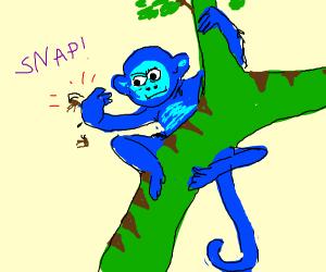 blue monkey decimates cockroach with snap