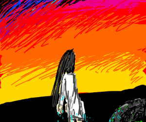 Ghost girl Standing in front of a sunset