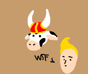 Viking cow with man saying WTF